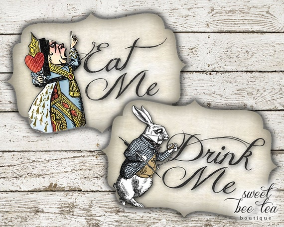 Alice in Wonderland Eat Me Drink Me Tags or Cupcake Toppers | 570 x 456 jpeg 85kB