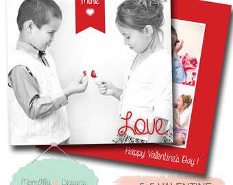 Valentine's Day Flat Card Template 5X5 - Photoshop File - INSTANT DOWNLOAD