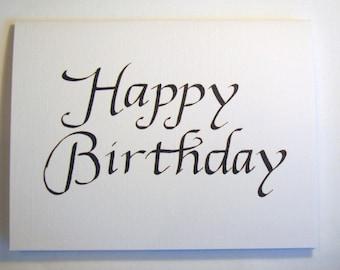 Happy Birthday Card Calligraphy Etsy