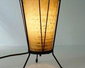 Reserved: Vintage Mid Century Black & Fiberglass Shade Cone Tripod Leg Table Lamp--FREE SHIPPING