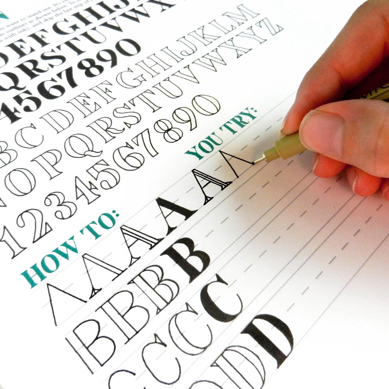 Printable hand lettering worksheet set page