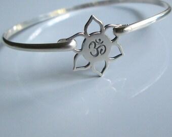 OM Bangle, Sterling Silver,  Yoga Bangle, Sterling Silver Bangle , Lotus Bangle,  Zen  Bracelet, OM Symbol , Lotus Flower,Silver Bangle