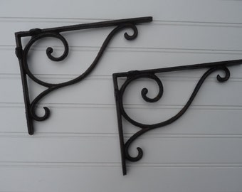 Set of 2 = Iron Metal Brown Simple SWIRL Ornate = Old World Corner Wall Shelf Brackets - Old World Rustic - Corner Trims