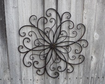 Wrought Iron SWIRL Flower Center Design Wall Art ~ Photo collage Metal  Headboard Bedroom Bed ~ Large Hanging ~ Patio ~ Shabby Chic Decor