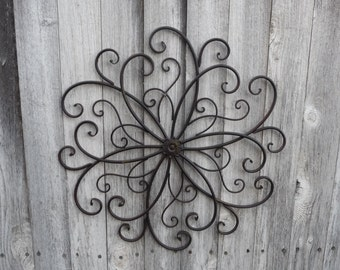wrought iron swirl flower center design wall art photo collage metal headboard bedroom bed large hanging patio shabby chic decor - Wrought Iron Wall Designs