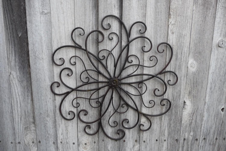 Wrought Iron Wall Decor Flowers : Wrought iron swirl flower center design wall art photo