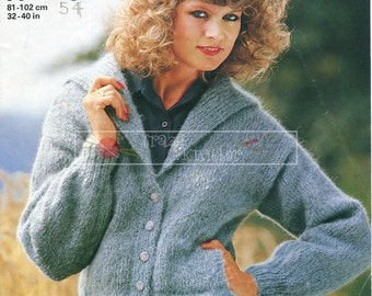 Lady's Cardigan Mohair 32-40in Jaeger 4904 Vintage Knitting Pattern PDF instant download