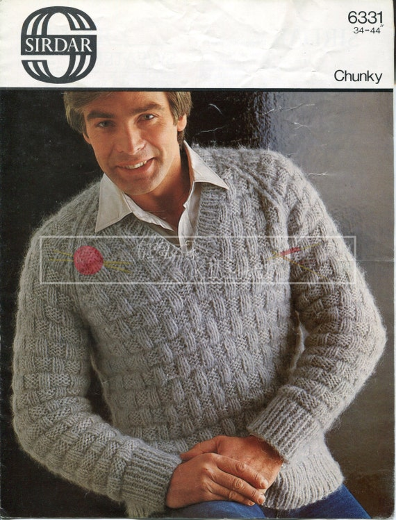 Man's Raglan Sweater Chunky 34-44in Sirdar 6331 Vintage Knitting Pattern PDF instant download