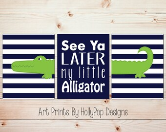 Lime Green Navy Alligator Art Baby Boy Nursery Art Boy Bedroom Decor Boy Wall Art See Ya Later My Little Alligator Boy Nursery Prints #1294