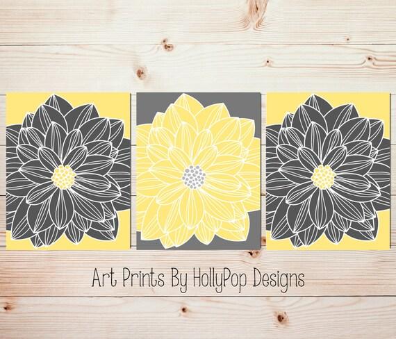 dahlia wall art yellow gray home decor set of 3 floral burst. Black Bedroom Furniture Sets. Home Design Ideas