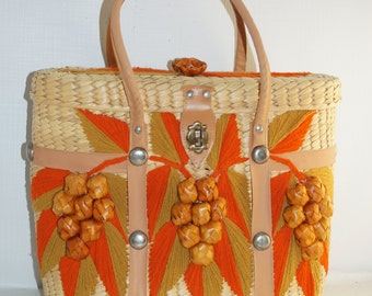 Oversized Woven Basket Purse Tote Orange Brown Grapes 13.5x10""