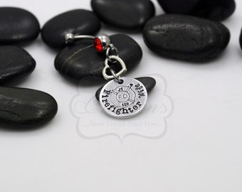 "Hand Stamped ""Firefighter _____"" Personalized Belly Ring (Wife / Fiance / Girlfriend)"