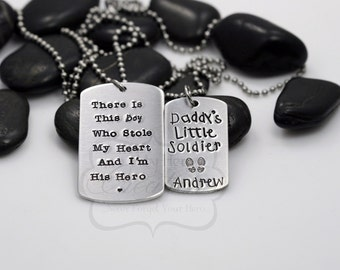 "Hand-Stamped Military Support / Deployment ""Daddy and Me"" Necklace Set"