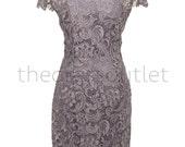 Lilac Wedding Guest Evening Dress Plus Size Black Tie Vintage Lace Short Sleeve Formal