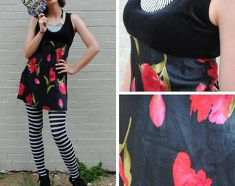 Black Floral Babydoll Dress - Vintage
