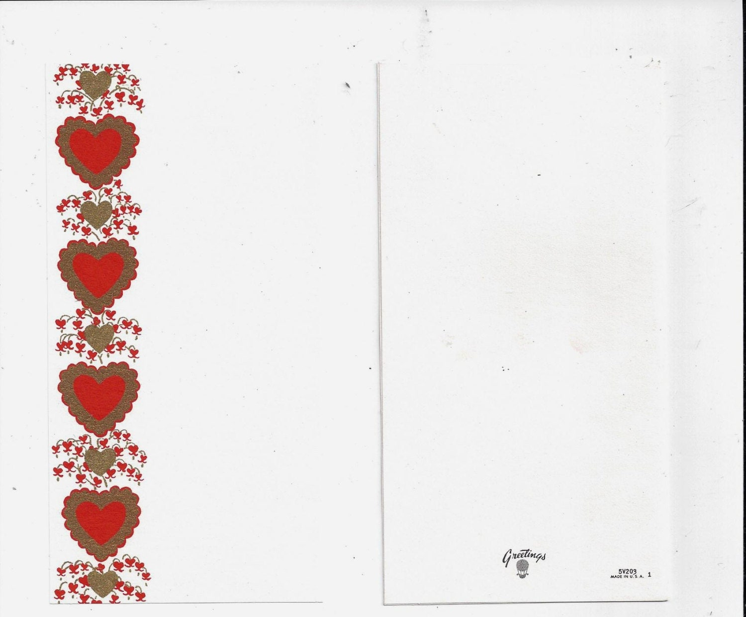 1960s Vintage Valentine Card by Greetings with Glitter and Gold on