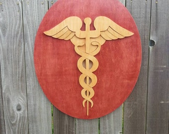 Medical caduceus, doctors office decor, medical graduation gift, doctor gift