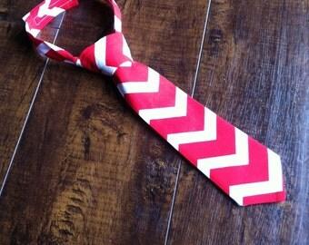 Boys Neck Tie, Infant Necktie, Red and White Chevron, Toddler Neck Tie