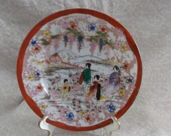 Vintage handpainted  Asian Design Dish set of 4