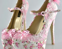 Swarovski Burlesque pearl Victorian Vintage Pink Rose Lace crystal embellished Mary Jane Floral platform Bow high heel shoes