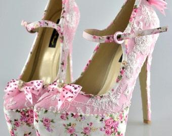 Swarovski Burlesque pearl Victorian Vintage Pink Rose Lace crystal embellished Mary Jane Floral platform Bow high heel shoes