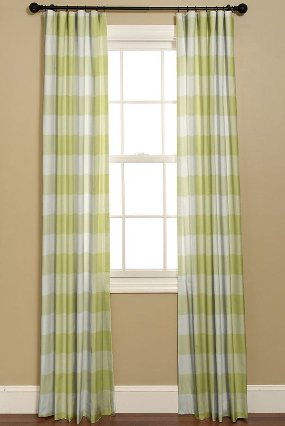 Buffalo check in green and white curtains p by