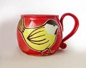 Ceramic Yellow Bird Mug, pottery bird mug, handmade red mug, bird art, nature art, holds 16 oz and is dishwasher and microwave safe.
