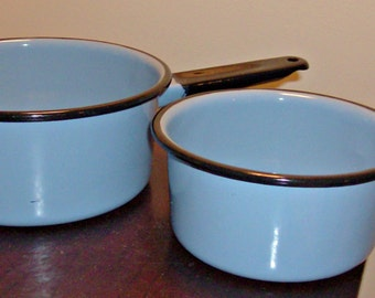 2 Vintage Enamelware French Blue w/Black Handles Pots