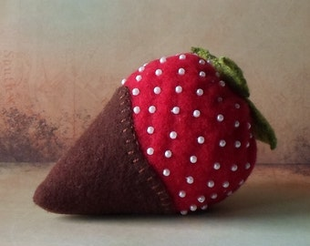 Handmade Pincushion Felted Wool Chocolate Dipped Strawberry Pincushion