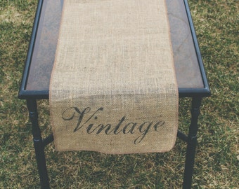 Burlap Table Runner, Table Runner, Vintage Table Runner