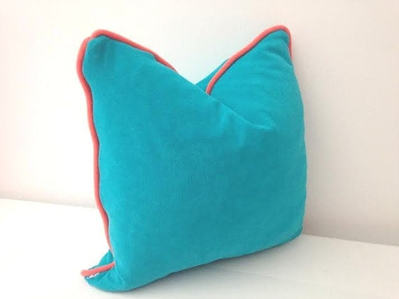Items similar to Aqua Terry Throw Pillow with Orange Piping 24