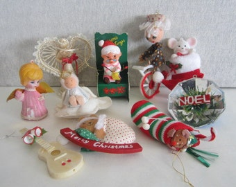 Lot of Vintage Christmas Ornaments  Ten Vintage Christmas Ornaments
