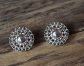 Silver earring, round silver post earrings, vintage stud earrings, Silver Statement Circles, post earrings, costume jewelry