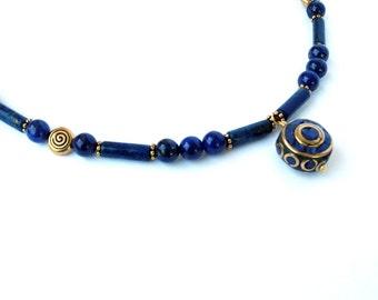 Lapis Lazuli Necklace, Nepal Lapis Jewelry, Statement Necklace, Nepalese Inlaid Gemstone, Gold Necklace, Gemstone Jewelry, Egyptian Style