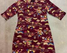 90s Reo De Cent Asian Inspired Dress. Burgendy background with Bright Floral print.Hidden Side Zipper,Knott Button.
