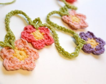 Crochet flower bunting, flower garland, party decor, wedding decor, handmade