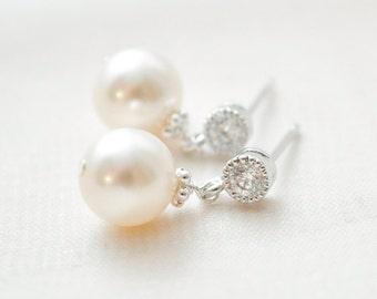 Small Pearl Earrings, Pearl Drop Earrings, Ivory Pearl Earrings, Bridal Jewellery