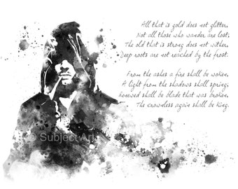 The Riddle of Strider, Lord of the Rings ART PRINT illustration, Aragorn, Home Decor, Wall Art, Fantasy, Poem
