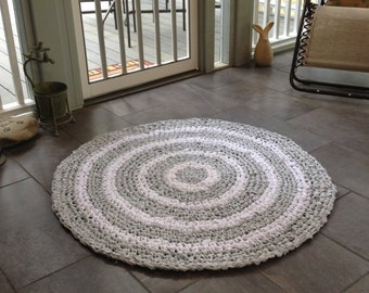 "Rag Rug | 44"" Crocheted Rag Rug | Shabby Chic rug | Upcycled Rug"