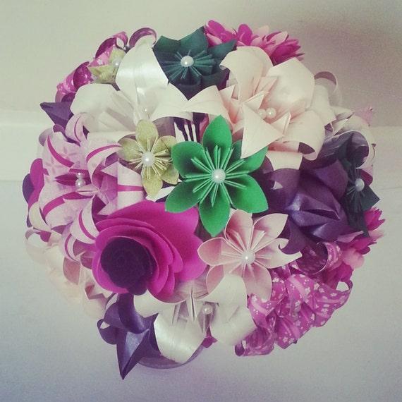 paper flowers origami bouquet wedding bridal alternative roses. Black Bedroom Furniture Sets. Home Design Ideas