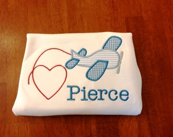 Valentine Plane Personalized shirt, Valentines Shirt, Boys Valentines Day shirt, Boys Valentines Outfit, Personalized Valentine shirt