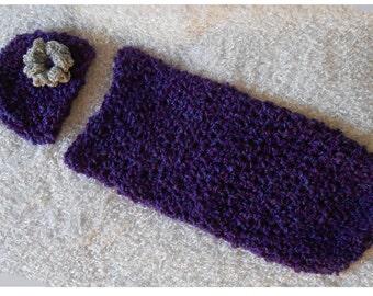 Crochet Baby Cocoon Baby Hat, Purple Crochet Cocoon & Hat, Newborn Cocoon, Infant Cocoon, Dark Purple Cocoon, Purple Baby Photo Prop, Cacoon