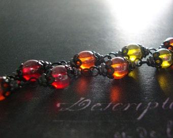 Fallen Phoenix Bracelet - Black Victorian Gothic Jewelry - Red Orange Yellow Fire Colors Black Jewelry - Black Fire Jewelry - Fire Bracelet