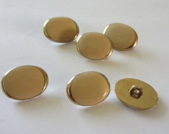 Small Oval Gold Colour and Cream / Beige Button Fastener - sold individually