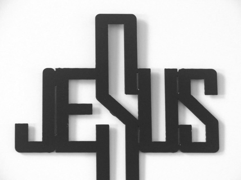 16 Gauge Steel Art Deco Jesus Name Cross Metal Wall Art