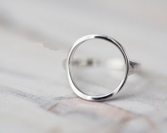 925 Sterling Silver Round Circle Adjustable Ring 786