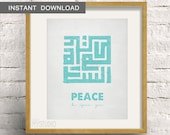 Instant Download! Salam Peace be upon you, Kufi Islamic Art. Scandinavian Rustic Design. Digital Download DIY