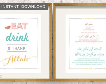 """Instant! Eat, Drink & Thank Allah. Kitchen Print 4x6"""" and 8x10"""""""