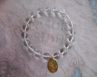 Golden tree of life quartz bracelet
