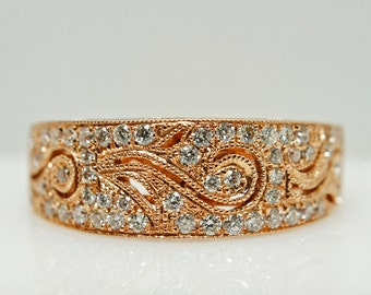 Engagement Band Rose Gold Engagement Ring Wedding Band Diamond Engagement Band Diamond Wedding Band Wedding Ring Rose Gold Band